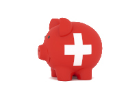 Finance, saving money, piggy bank on white background. Switzerland flag. 3d illustration.