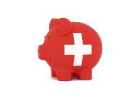 Finance, saving money, piggy bank on white background. Switzerland flag. 3d illustration.